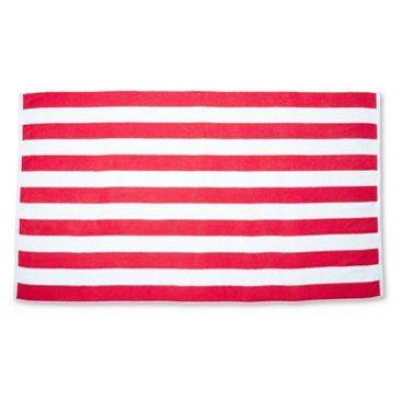 one kings lane | cabana stripe beach towel, cayenne/white