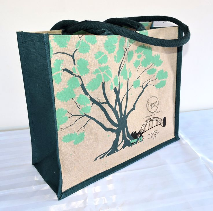 Fig Tree -  These larger than life shady trees are popular to picnic under on sunny days.  This particular fig looks out to Sydney harbour from the Botanic Gardens.  39 x 36 x 18cm natural jute cotton (juco) material, dark green cord handles and gusset