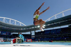#Rio216   Jessica Ennis-Hill of Great Britain competes in the women's heptathlon long jump.
