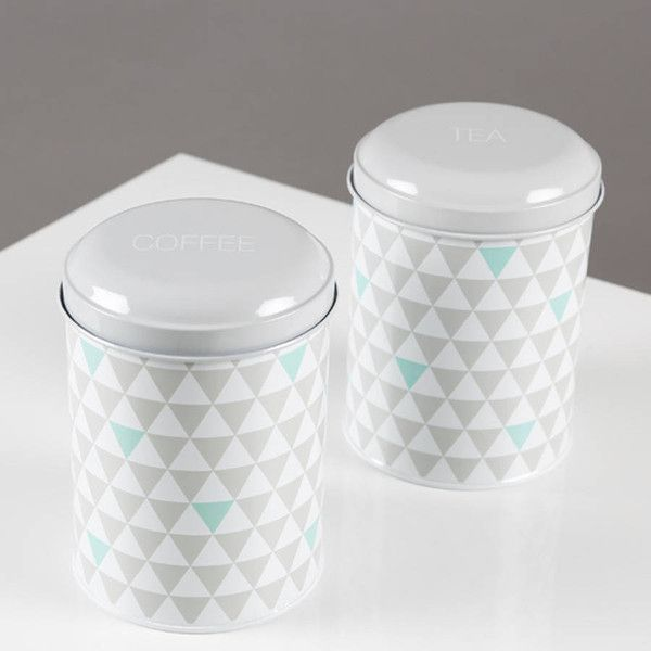 Uniquely Eclectic Retro Geometric Tea And Coffee Canisters ($26) ❤ liked on Polyvore featuring home, kitchen & dining, food storage containers, tea canisters and tea cannister