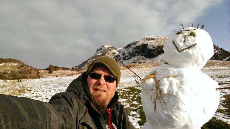 Mr snowman and I in Holyrood Park, Edinburgh.