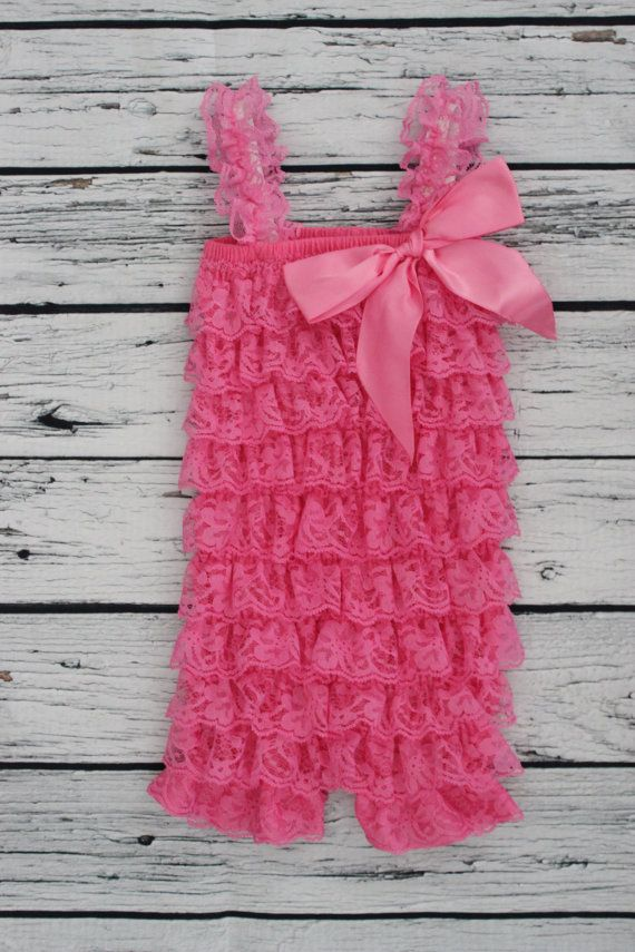 Hot Pink Lace Ruffle Romper For Baby Girls First Birthday Cake