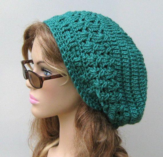 Mermaid Bamboo wool Dread Beret Slouchy by PurpleSageDesignz, $ 24.00