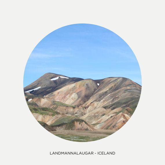 "Landmannalaugar mountains, Circle picture, Iceland photography, Northern hills, Nordic art print, Scandinavia, 8"" x 8"", 20 cm x 20 cm"