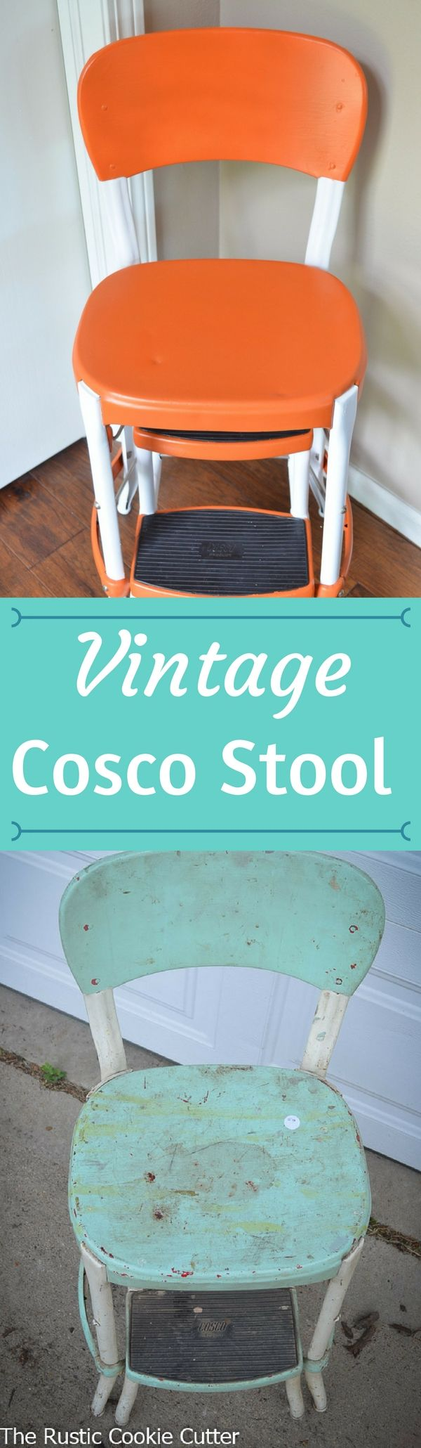 This Vintage Cosco Stool Makeover was amazing! It was in great shape except for the color. I love the orange and white.