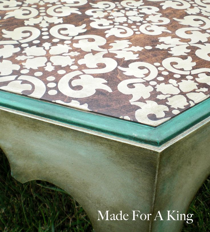 Stencil the top, THEN stain.  Sarah I wanna do this to my kitchen table. You should come home and help me!