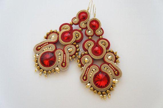 Soutache earrings sutasz kolczyki Swarovski от CattaleyaJewelry