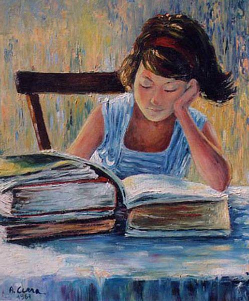 Antonio Cerra (Italian painter) - Girl reading, 1967