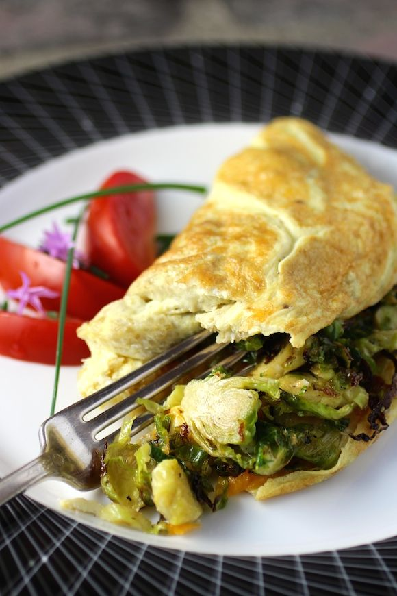 Quinoa Omelette filled with Roasted Brussels Sprouts and Cheddar #FallFest