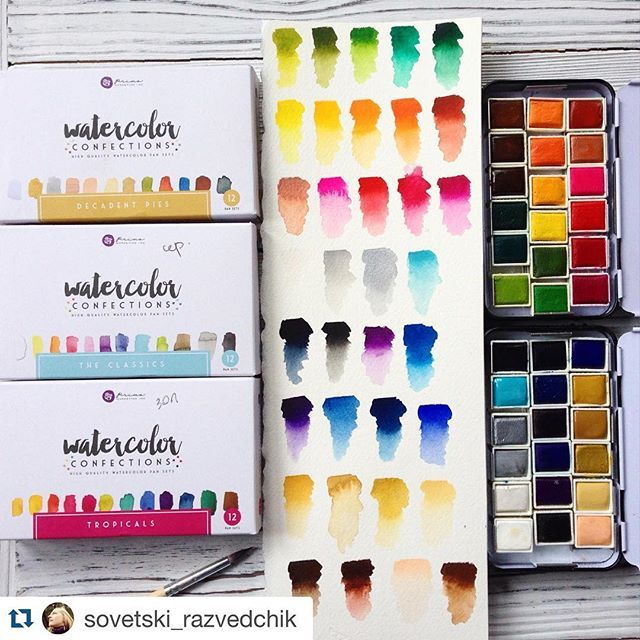 #Repost @sovetski_razvedchik ・・・ Today I received my watercolor by Prima marketing  I'm  really happy , watercolor perfect for any project that has a bright pigments and well- typed on a brush  акварель Prima marketing #watercolor #colorconfections