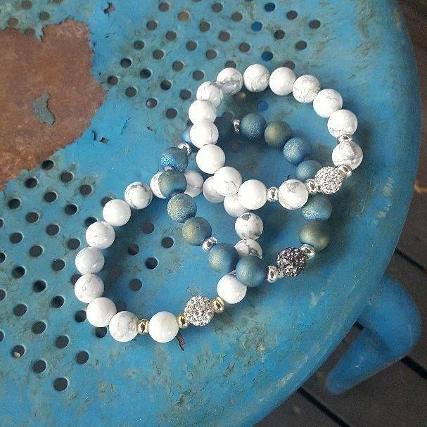 Pave Howlite and Druzy Bracelets #chunkybracelet #beadedbracelet #pavebeads #howlitejewelry #druzyjewelry