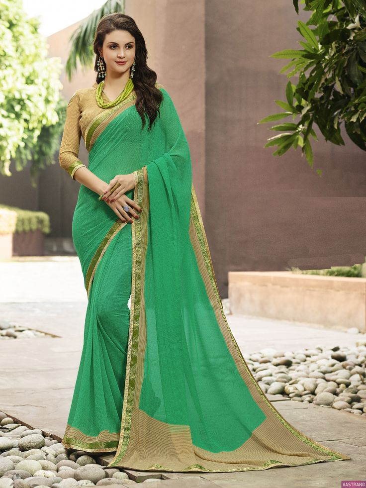 Major Georgette Printed Lace Border Saree