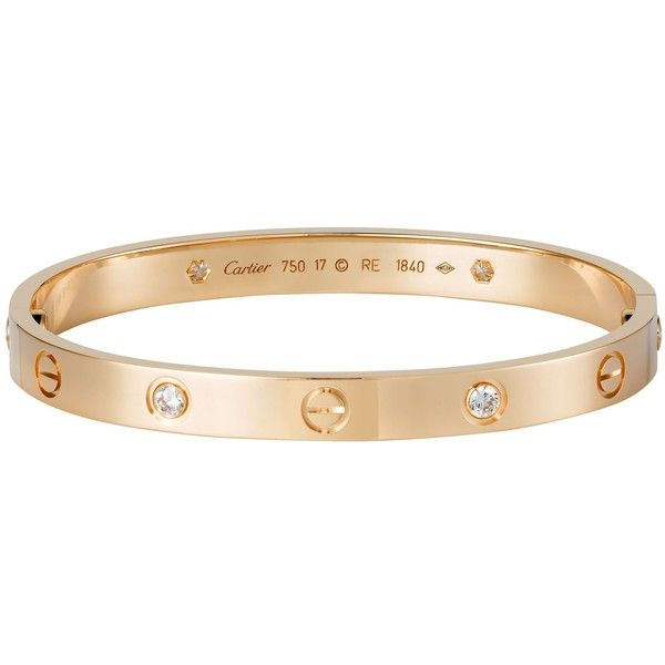 CARTIER LOVE 18ct pink-gold and diamond bracelet (£8,100) ❤ liked on Polyvore featuring jewelry, bracelets, accessories, joias, rings, diamond bangles, diamond jewelry, rose gold diamond bangle, cartier bangle and cartier jewelry