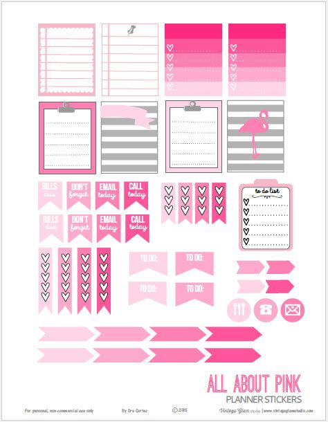 Free printable download of pink planner stickers suitable for vertical weekly planners as well as other types of papercrafts. For personal use only.