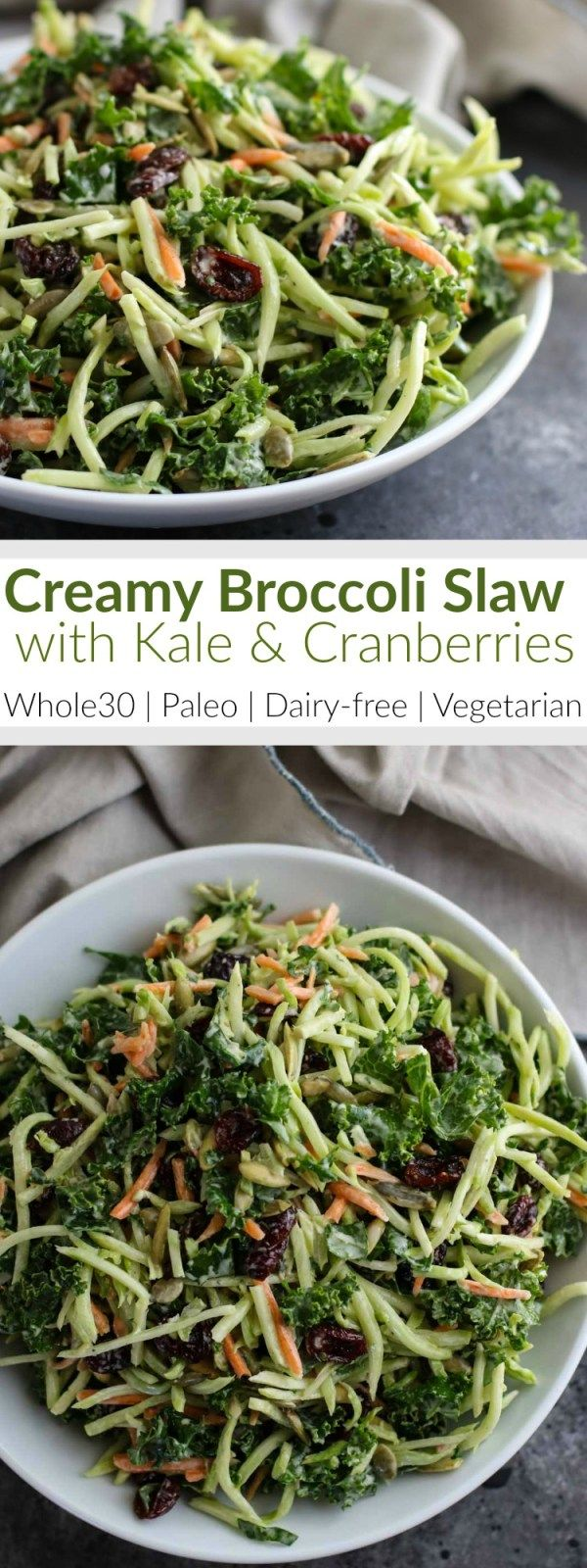 Creamy Broccoli Slaw | Crunchy and convenient bagged broccoli slaw makes this a cinch to whip up for an easy Whole30-friendly weeknight side or a potluck dish to pass. | The Real Food Dietitians | http://therealfoodrds.com/creamy-broccoli-slaw/