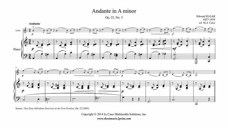 Elgar : Andante in A minor, Op. 22, No. 3 - Violin www.sheetmusic2print.com/Elgar/Easy-Piece-22-3.aspx