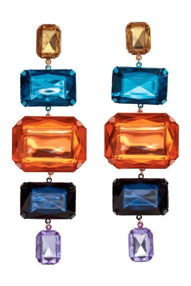 Крупные серьги - Оранжевый/Разноцветный - Женщины   H&M RU 1