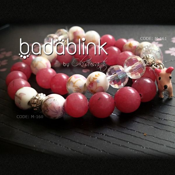 Pink stones, white ceramic and clear crystals bracelet with pink puppy charm    Material: natural stones, crystal and metal      Length: 18-22 cm/7-9 inches     Inquiries: facebook.com/badablink      Line: badablink      Email: hello@thebadablink.com