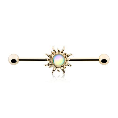 Golden Sun Sparkling Industrial Barbell 14ga Scaffold Piercing Barbell