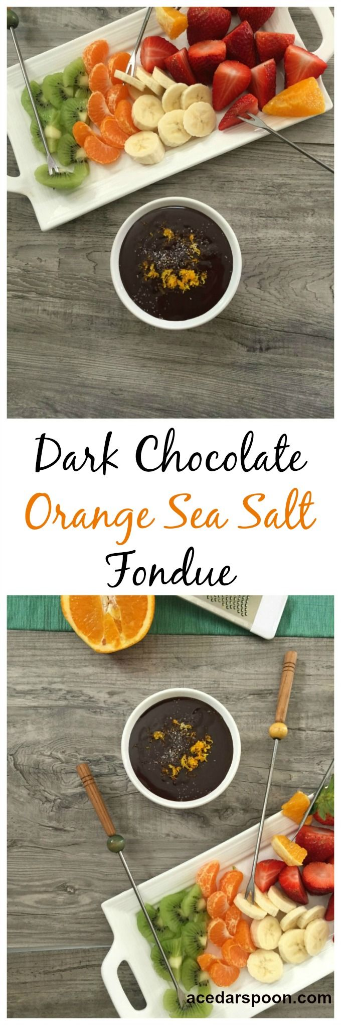 Dark Chocolate Orange Sea Salt Fondue makes a fun snack for the family, a dessert to end a special meal or a nice addition to a party. Dark chocolate, orange zest and a sprinkle of sea salt creates a decadent chocolate sauce. // A Cedar Spoon #sponsored