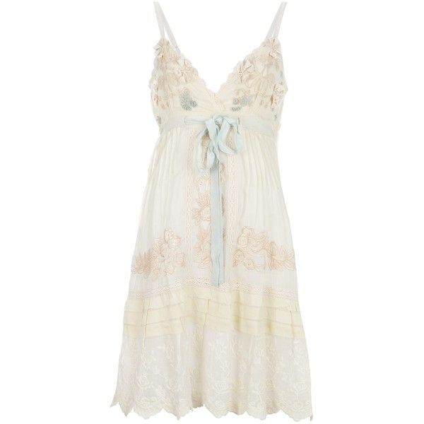 GADO GADO applqiue empire line dress ($175) ❤ liked on Polyvore featuring dresses, robes, transparent dress, floral dress, flower print dress, cotton floral dress and panel dress