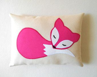 Fox Pillow in Hot Pink, Mini Handmade Fox Cushion on Eco Friendly Natural Cotton, Woodland Nursery, Forest Animal Gift, Doll Pillow