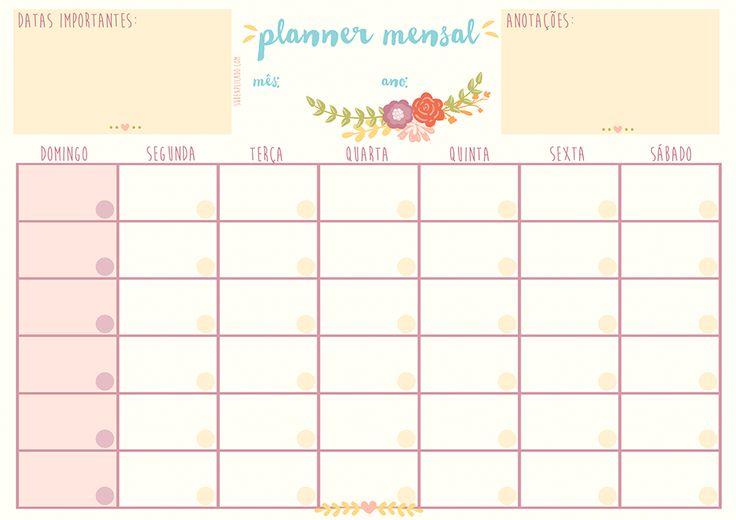 Planner Mensal – Calendário para Organização Pessoal ◂ Subexplicado