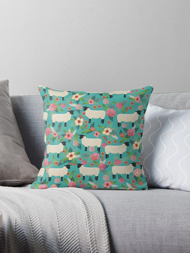Kissen mit Schafen   Tiere   Blumen   Deko   Wohnen   Zuhause   bunt   farbenfroh