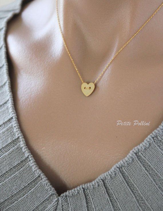 Heart Necklace in Matte Silver/ Gold. Heart by PolliniAtelier