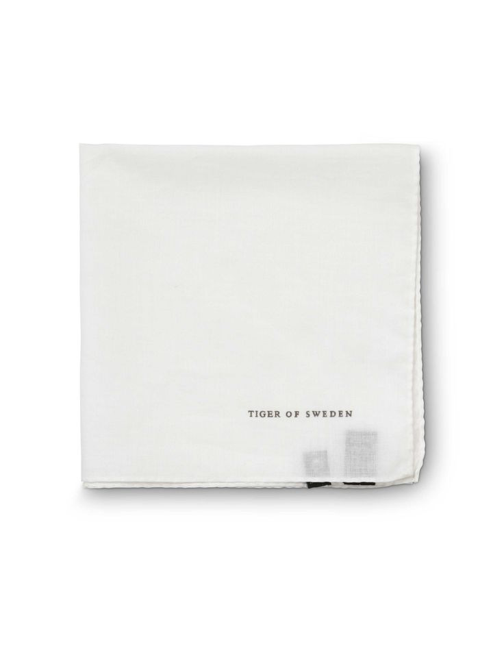 Famiano handkerchief-Men's white handkerchief in cotton. Rolled and hand stitched edges. Tiger of Sweden logo print.