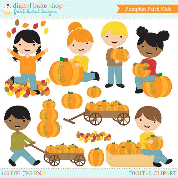 Lets go pumpkin picking! This adorable Pumpkin Patch Kids Clipart set is perfect for your Fall projects! This set includes girls and boys in 5