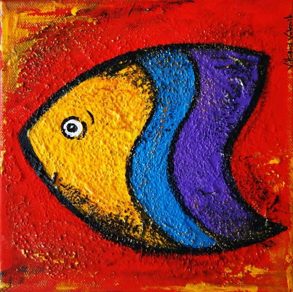 """"""" Fish"""" by VittoriaArtmodeling sculpture paste, yellow, green, red, violet.Original Acrylic Abstract 3D painting"""