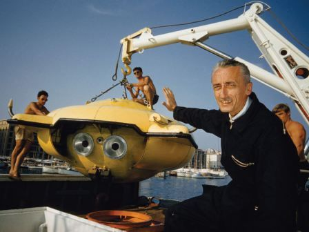 Cousteau and Mini-Sub image courtesy of National Geographic Society