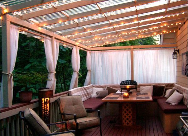 This is the type of cover that I am thinking about for the side porch.  I want to let some light in, but also keep the rain away from the house and the kitchen door.