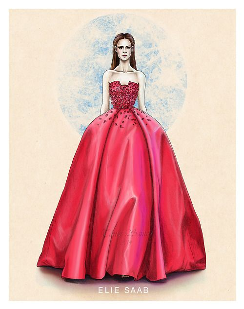"""""""Elie Saab haute couture SS14"""" A new fashion illustration by Tania Santos"""