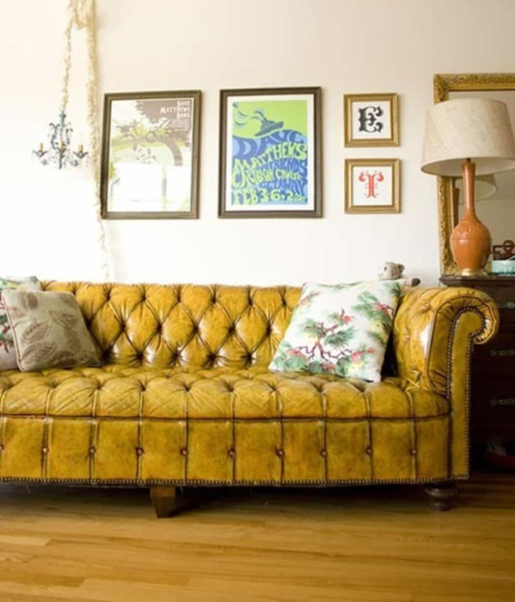 Yellow Chesterfield Leather Sofa