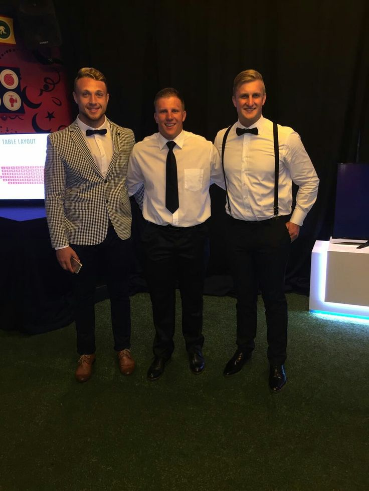 Ruan Ackermann, Pieter Jansen and Jarryd Sage all dressed up at the Lions Group's Awards!  ##LeyaTheLion #Liontainment #BeThere #MyLionsMoment #LionsAwards2017