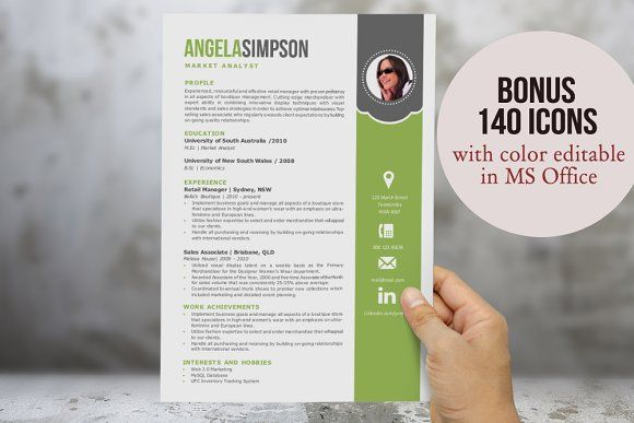 2 in 1 stylish Word photo resume by Inkpower on @creativemarket