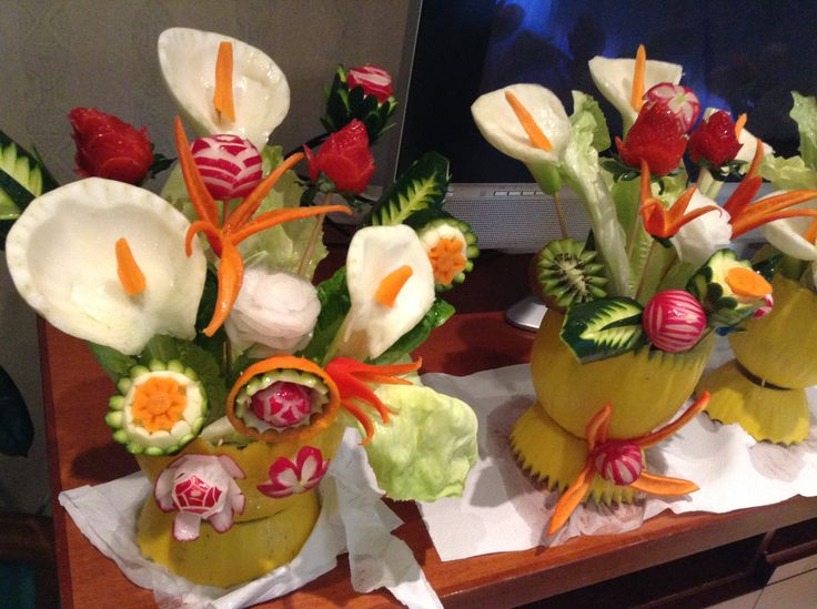 Fruit Carving: Vasi di fiori. Intagliare e scolpire frutta e verdura.  Corsi: www.imparofacendo.it