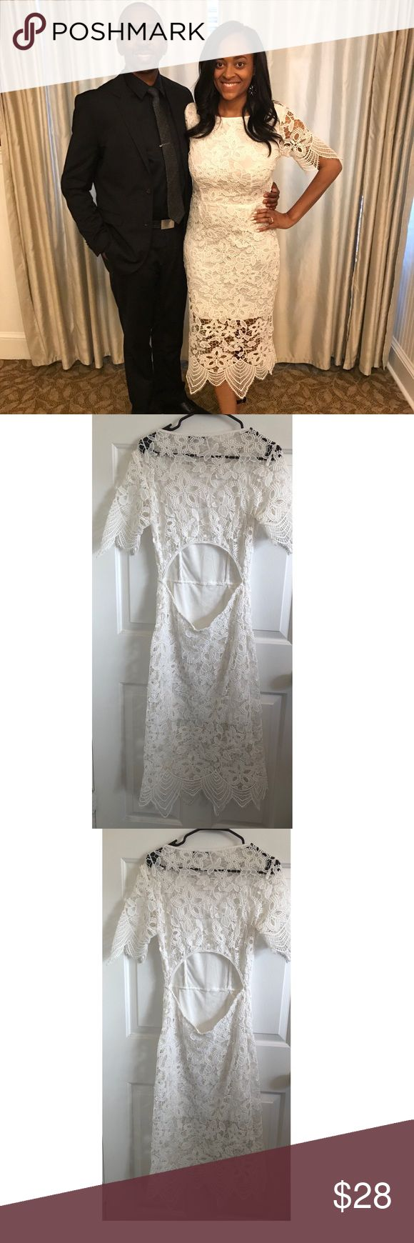 White dress This fabulous white dress is perfect for any pre-wedding activity OR if you just feel like wearing white! Maybe even for a courthouse wedding. Classy and delicate lace all over, with floral pattern and open back. Worn once. Size 8 but fits like a 6. Boohoo Dresses Wedding
