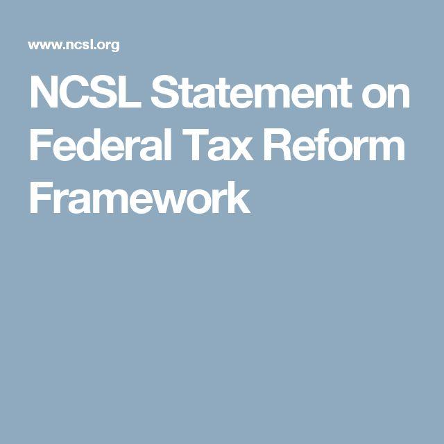NCSL Statement on Federal Tax Reform Framework