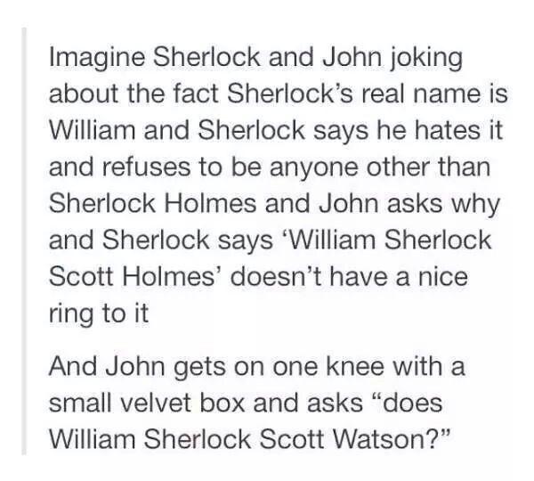 John proposing to Sherlock (Johnlock)