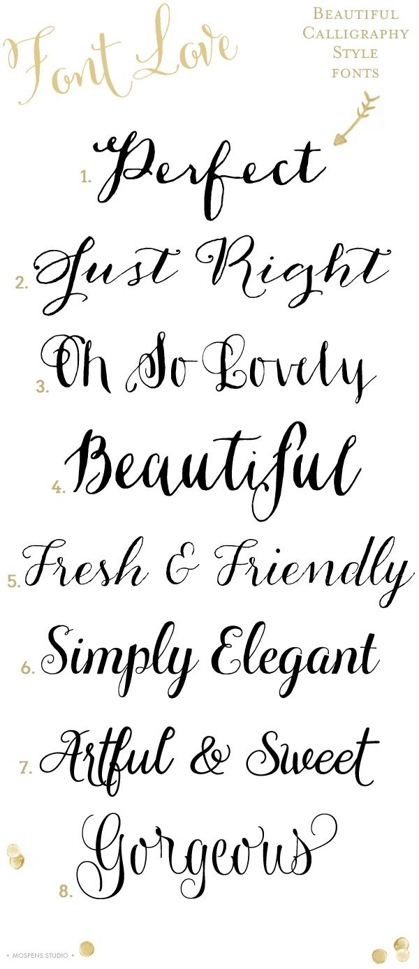 8 Gorgeous calligraphy style fonts |  1. Dasha  2. Anna Clara  3. Ahra  4. Ondise  5. Aleka  6. Ciao Bella  7. Gardeny  8. Wishes Script Pro