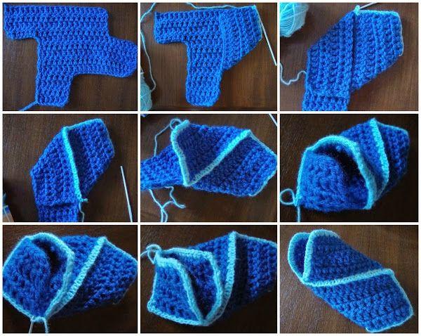 Pantuflas3cavec tuto photos et  explication, rapide  à crocheter http://lagrenouilledu.canalblog.com/archives/2014/12/29/31220566.html#c64247016