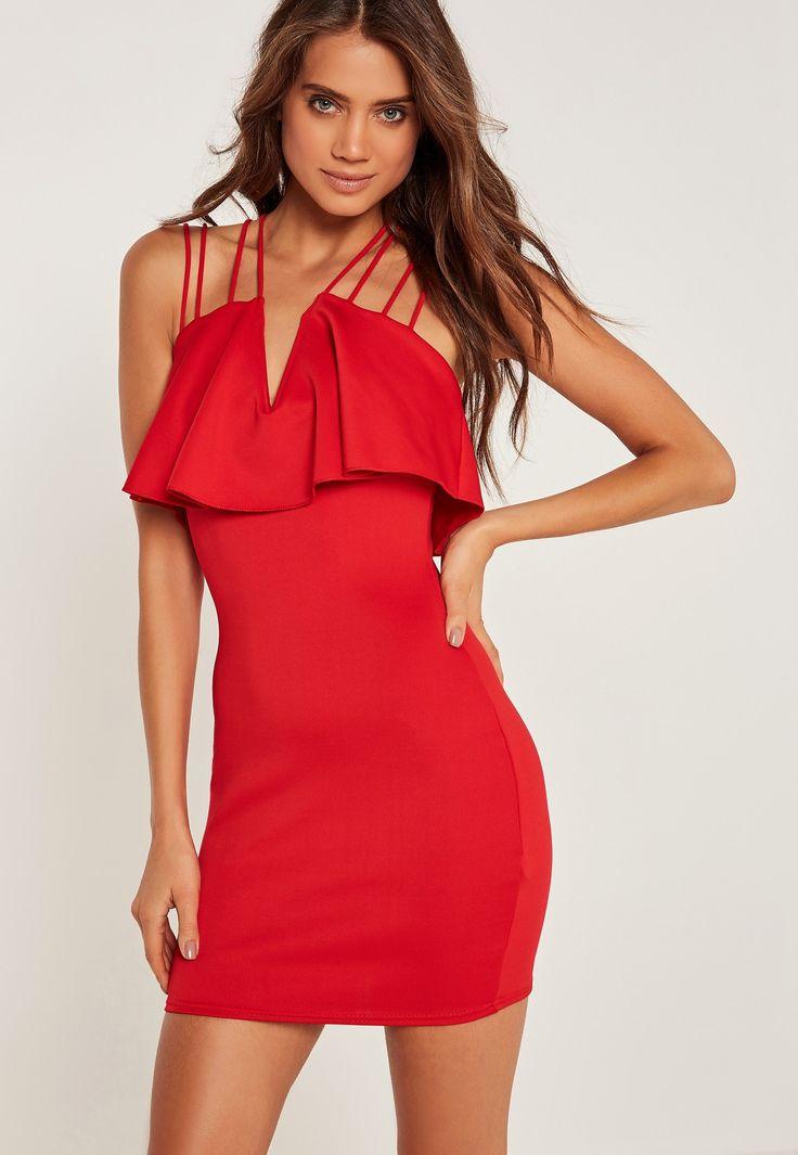 Missguided - Robe rouge moulante à lanières