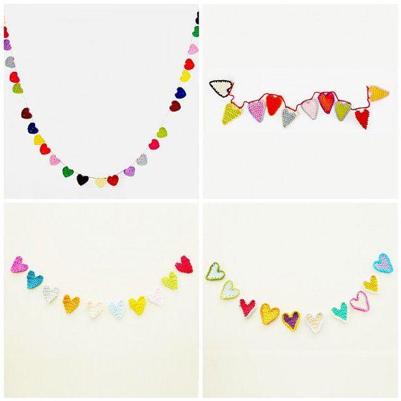Four cute crochet hearts patterns in one!