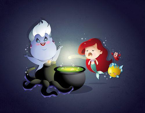 Kawaii Ariel and Ursula