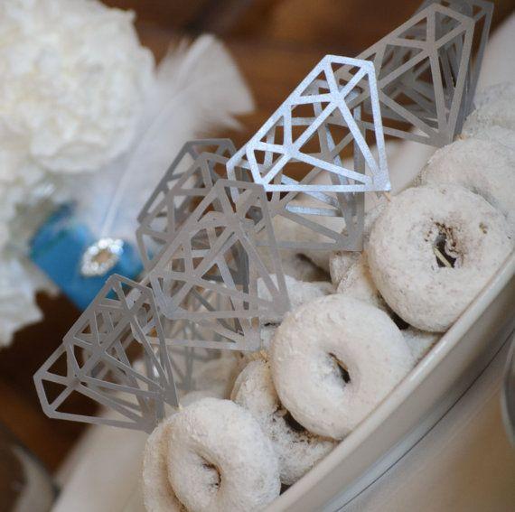 12 Diamond Shape Donut Topper Engagement Ring Doughnut Toothpick Cupcake Engagement Party Custom