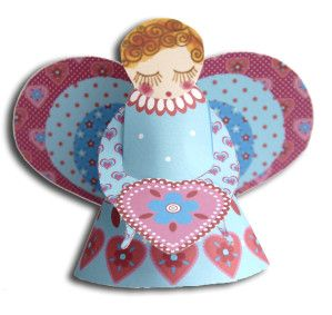 3D Free Printable Patchwork Angel.