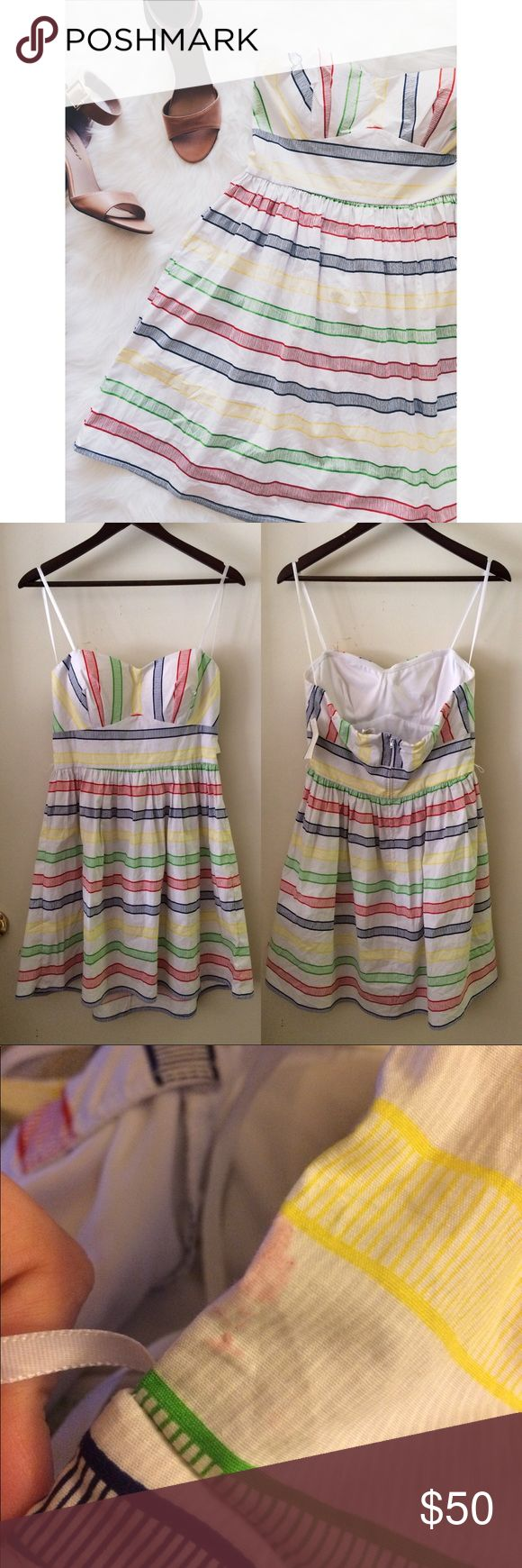 Rainbow Striped Dress This dress does have a tag, but it does have a pink mark (probably can be washed out) on the right armpit area. Has belt holes, but no belt. Back zipper. Thin padding. No modeling. Cotton, Spandex, Polyester. 0409173.  ✅Reasonable offers welcome! ✅BUNDLE DISCOUNTS! 🚫No trades/paypal/other apps. 🚫No lowball offers. B. Smart Dresses Strapless